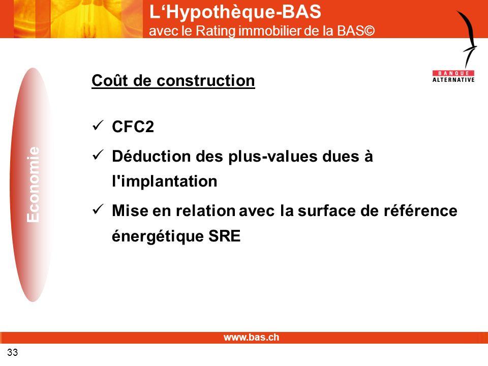 www.bas.ch 33 LHypothèque-BAS avec le Rating immobilier de la BAS© Coût de construction CFC2 Déduction des plus-values dues à l'implantation Mise en r