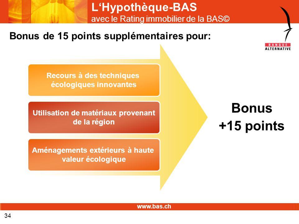 www.bas.ch 34 LHypothèque-BAS avec le Rating immobilier de la BAS© Recours à des techniques écologiques innovantes Utilisation de matériaux provenant