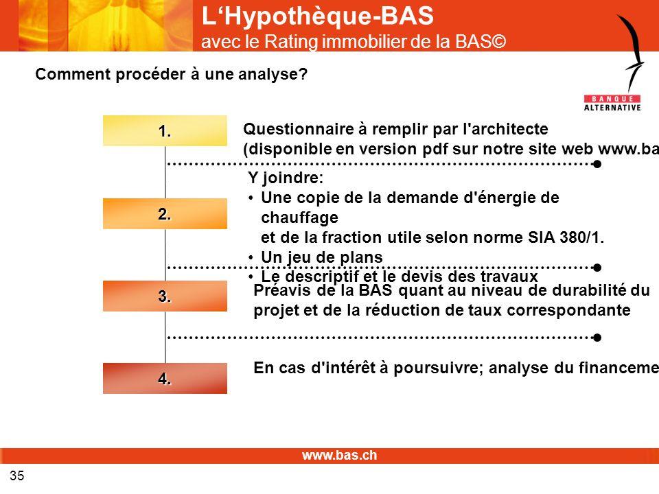 www.bas.ch 35 LHypothèque-BAS avec le Rating immobilier de la BAS©1. Questionnaire à remplir par l'architecte (disponible en version pdf sur notre sit