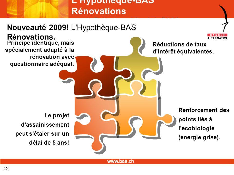 www.bas.ch 42 LHypothèque-BAS Rénovations avec le Rating immobilier de la BAS© Réductions de taux d'intérêt équivalentes. Le projet d'assainissement p