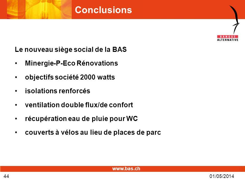 www.bas.ch 01/05/201444 Conclusions Le nouveau siège social de la BAS Minergie-P-Eco Rénovations objectifs société 2000 watts isolations renforcés ven