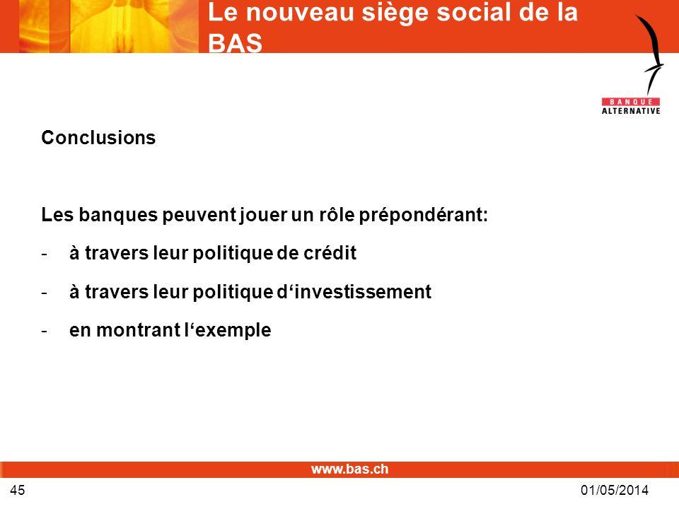 www.bas.ch 01/05/201445 Le nouveau siège social de la BAS Conclusions Les banques peuvent jouer un rôle prépondérant: -à travers leur politique de cré