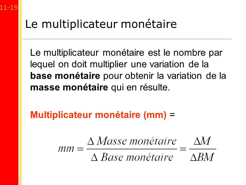 11-19 Le multiplicateur monétaire Le multiplicateur monétaire est le nombre par lequel on doit multiplier une variation de la base monétaire pour obte