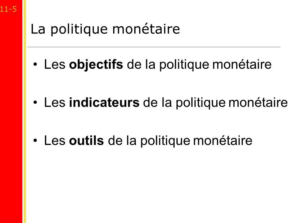 11-5 La politique monétaire Les objectifs de la politique monétaire Les indicateurs de la politique monétaire Les outils de la politique monétaire