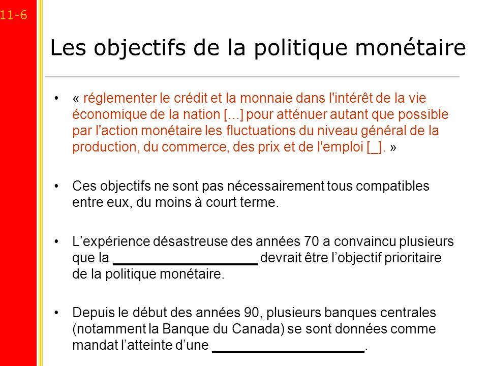 11-6 Les objectifs de la politique monétaire « réglementer le crédit et la monnaie dans l'intérêt de la vie économique de la nation [...] pour atténue
