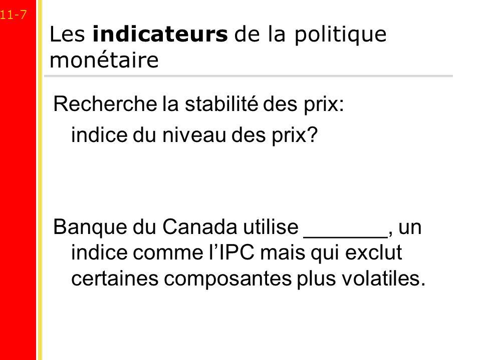 11-7 Les indicateurs de la politique monétaire Recherche la stabilité des prix: indice du niveau des prix? Banque du Canada utilise _______, un indice