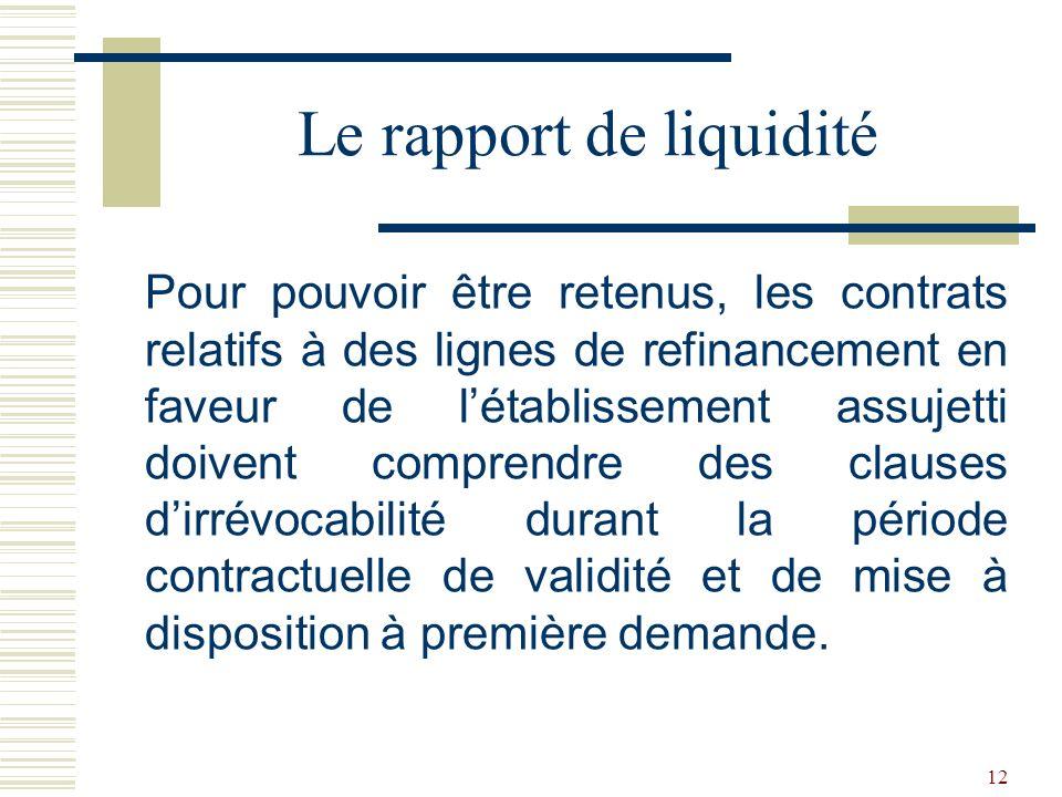 12 Pour pouvoir être retenus, les contrats relatifs à des lignes de refinancement en faveur de létablissement assujetti doivent comprendre des clauses dirrévocabilité durant la période contractuelle de validité et de mise à disposition à première demande.