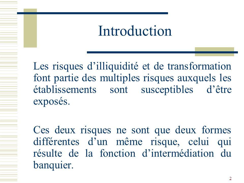 2 Introduction Les risques dilliquidité et de transformation font partie des multiples risques auxquels les établissements sont susceptibles dêtre exposés.