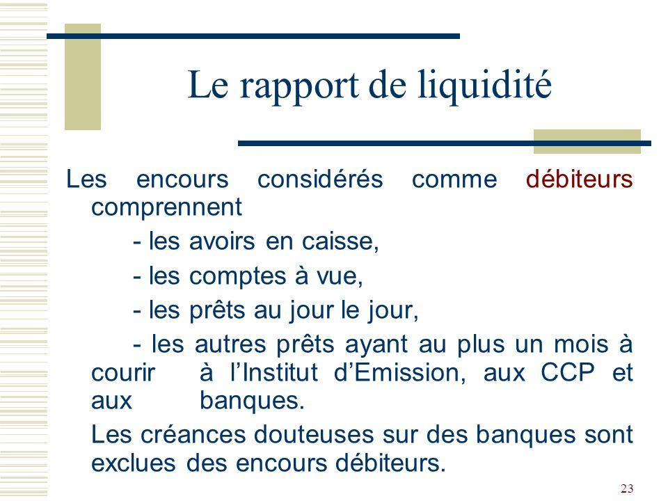 23 Les encours considérés comme débiteurs comprennent - les avoirs en caisse, - les comptes à vue, - les prêts au jour le jour, - les autres prêts ayant au plus un mois à courir à lInstitut dEmission, aux CCP et aux banques.