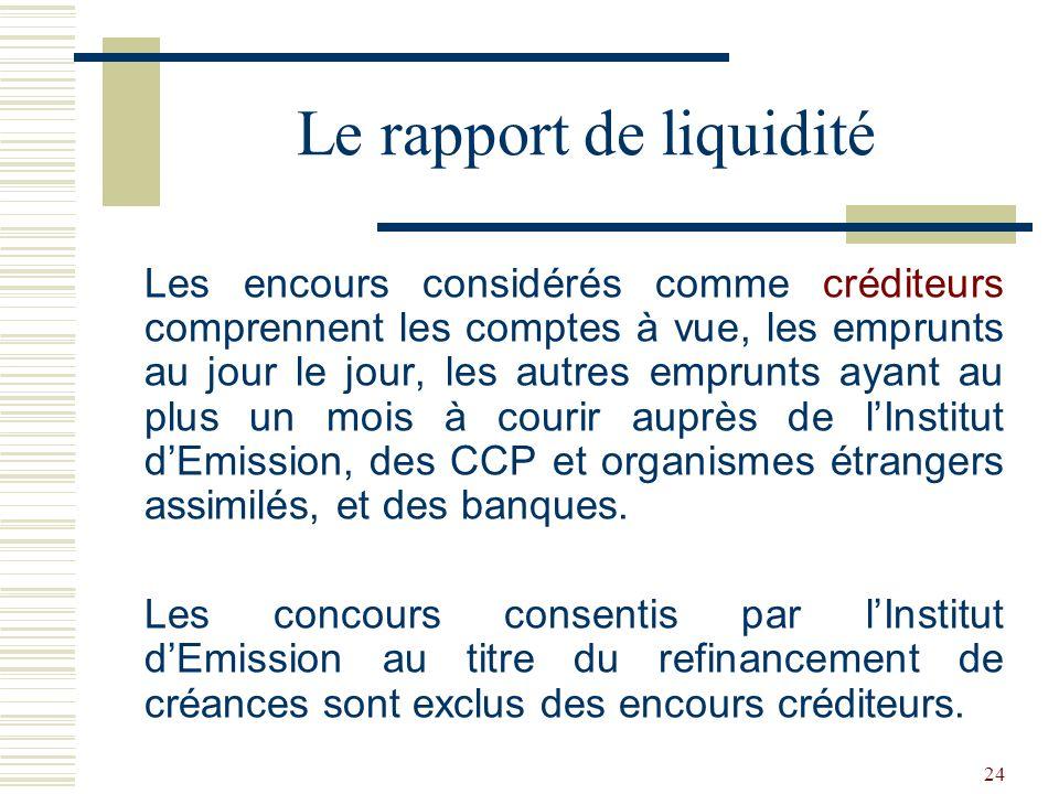 24 Les encours considérés comme créditeurs comprennent les comptes à vue, les emprunts au jour le jour, les autres emprunts ayant au plus un mois à courir auprès de lInstitut dEmission, des CCP et organismes étrangers assimilés, et des banques.
