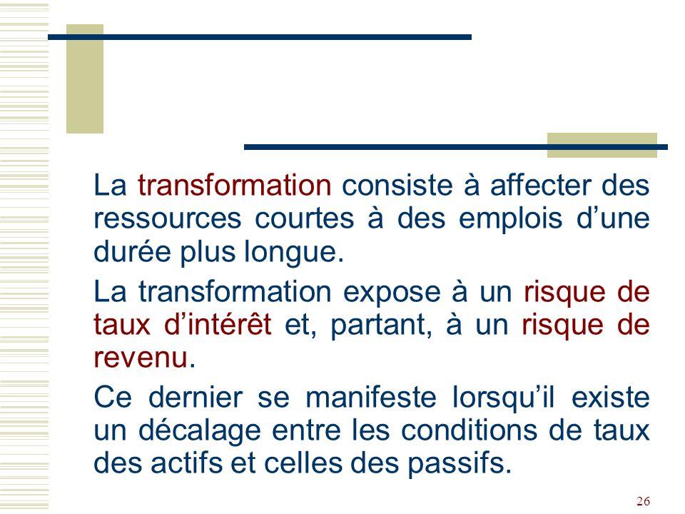26 La transformation consiste à affecter des ressources courtes à des emplois dune durée plus longue.