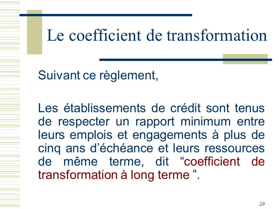 29 Suivant ce règlement, Les établissements de crédit sont tenus de respecter un rapport minimum entre leurs emplois et engagements à plus de cinq ans déchéance et leurs ressources de même terme, dit coefficient de transformation à long terme.