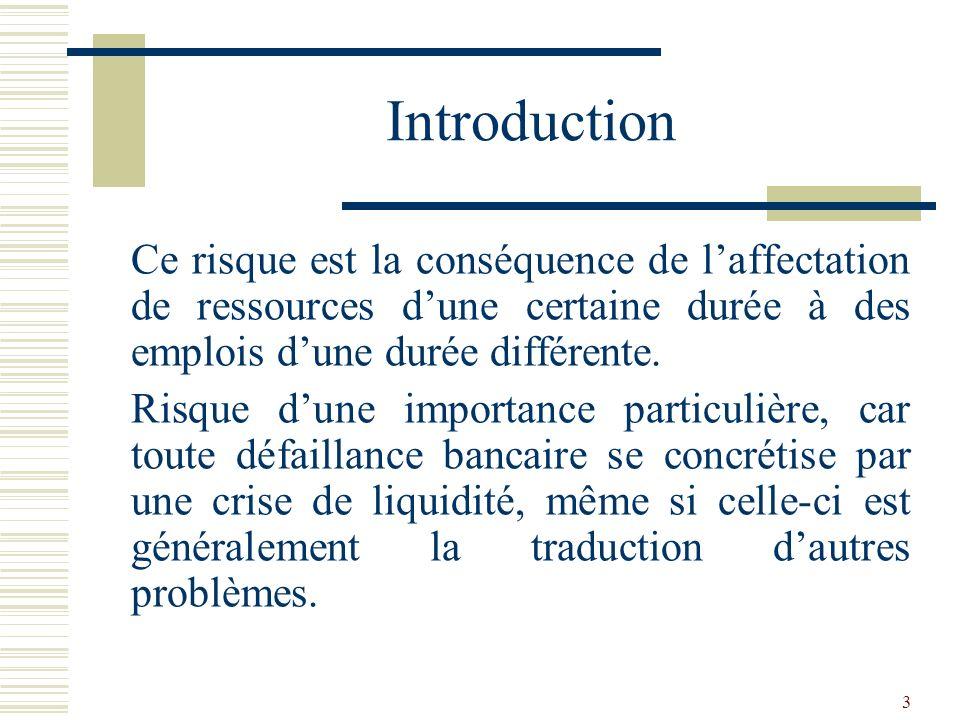 4 Introduction En général, on parle de risque dilliquidité sur le court terme et de risque de transformation sur des opérations à plus longue échéance.