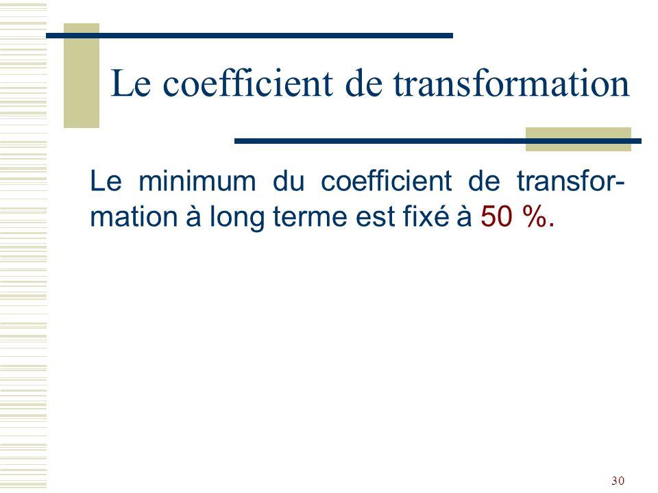 30 Le minimum du coefficient de transfor- mation à long terme est fixé à 50 %.