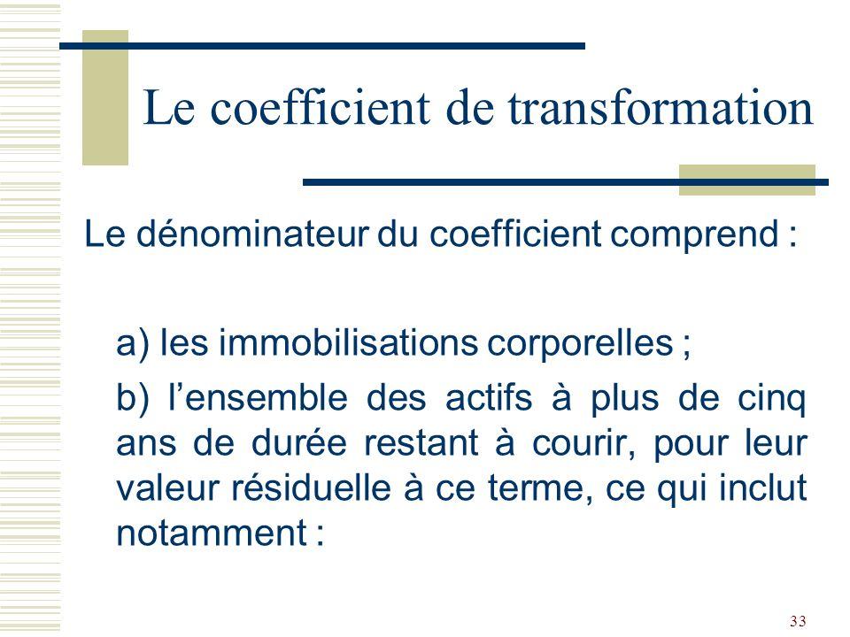 33 Le dénominateur du coefficient comprend : a) les immobilisations corporelles ; b) lensemble des actifs à plus de cinq ans de durée restant à courir, pour leur valeur résiduelle à ce terme, ce qui inclut notamment : Le coefficient de transformation