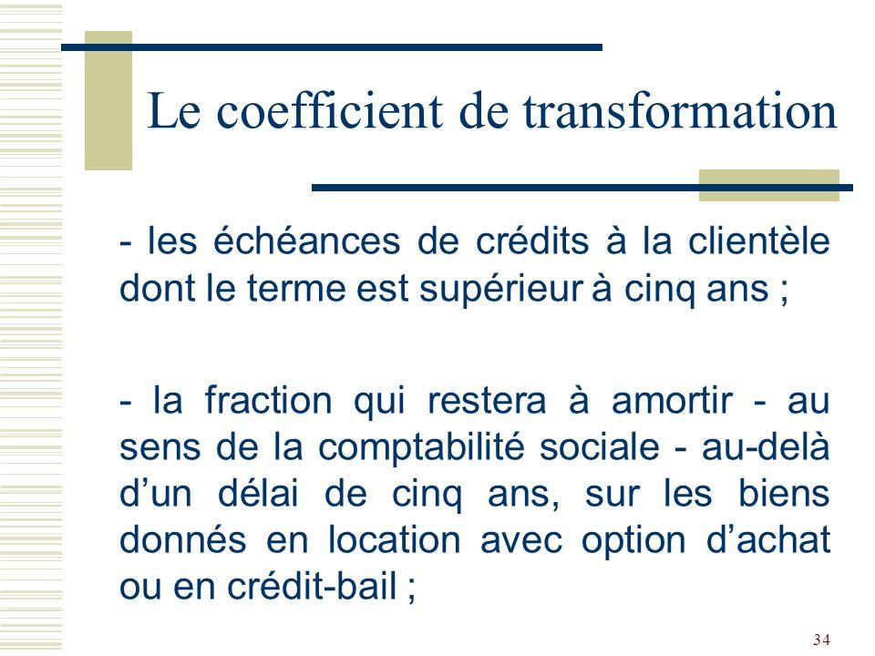 34 - les échéances de crédits à la clientèle dont le terme est supérieur à cinq ans ; - la fraction qui restera à amortir - au sens de la comptabilité sociale - au-delà dun délai de cinq ans, sur les biens donnés en location avec option dachat ou en crédit-bail ; Le coefficient de transformation