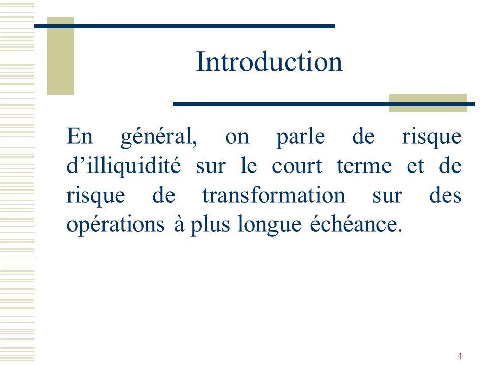 5 Le rapport de liquidité La liquidité est le degré daptitude à rembourser les dettes à vue ou à court terme et tout spécialement à faire face dans limmédiat aux retraits sur les dépôts à vue de la clientèle.