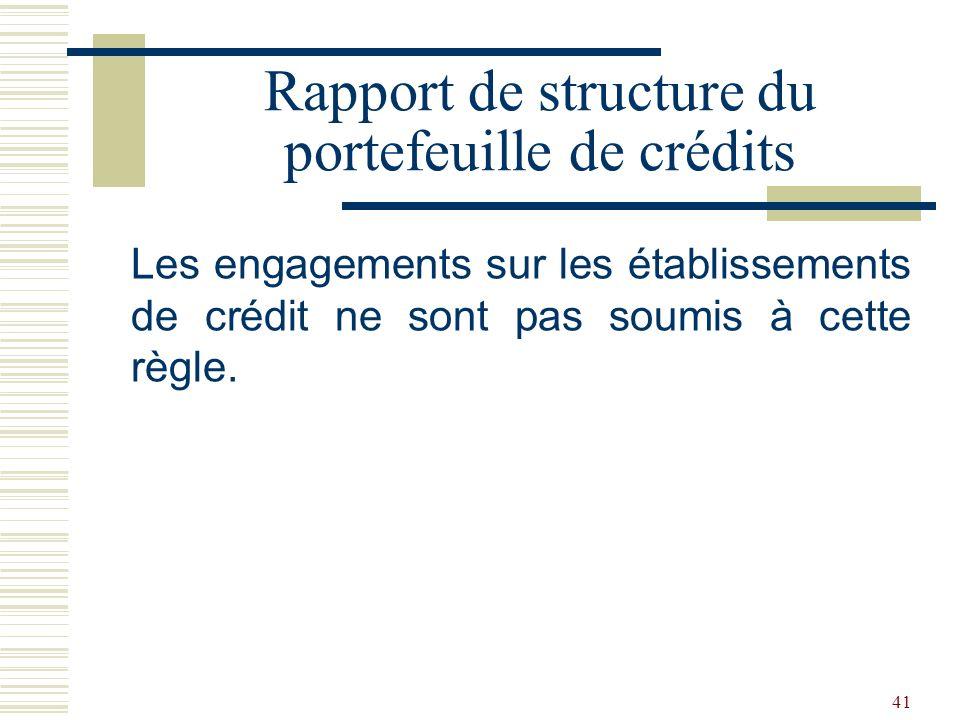 41 Les engagements sur les établissements de crédit ne sont pas soumis à cette règle.