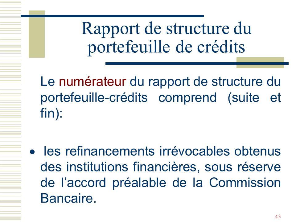43 Le numérateur du rapport de structure du portefeuille-crédits comprend (suite et fin): les refinancements irrévocables obtenus des institutions financières, sous réserve de laccord préalable de la Commission Bancaire.