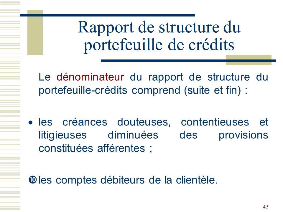 45 Le dénominateur du rapport de structure du portefeuille-crédits comprend (suite et fin) : les créances douteuses, contentieuses et litigieuses diminuées des provisions constituées afférentes ; les comptes débiteurs de la clientèle.