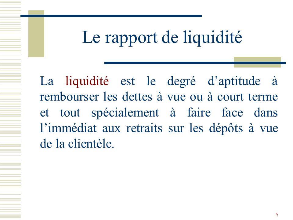 6 Pour assurer sa liquidité, cest-à-dire pour être en mesure de rembourser ceux qui le demandent ou pour faire face au non- renouvellement de certaines ressources, la banque doit disposer dun volume suffisant dactifs liquides ou aisément mobilisables.