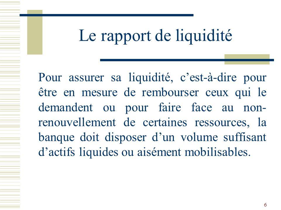 7 Doù la réglementation sur la liquidité: REGLEMENT COBAC R-93/06 RELATIF A LA LIQUIDITE DES ETABLIS- SEMENTS DE CREDIT (MODIFIE PAR LE REGLEMENT COBAC R-94/01) Le rapport de liquidité