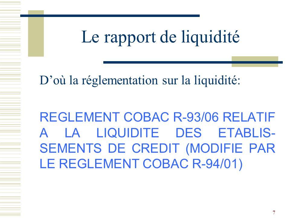 38 Le texte qui traite de cette notion est: LE REGLEMENT COBAC R-96/01 RELATIF A LA STRUCTURE DU PORTEFEUILLE-CREDITS DES ETA- BLISSEMENTS DE CREDIT Rapport de structure du portefeuille de crédits
