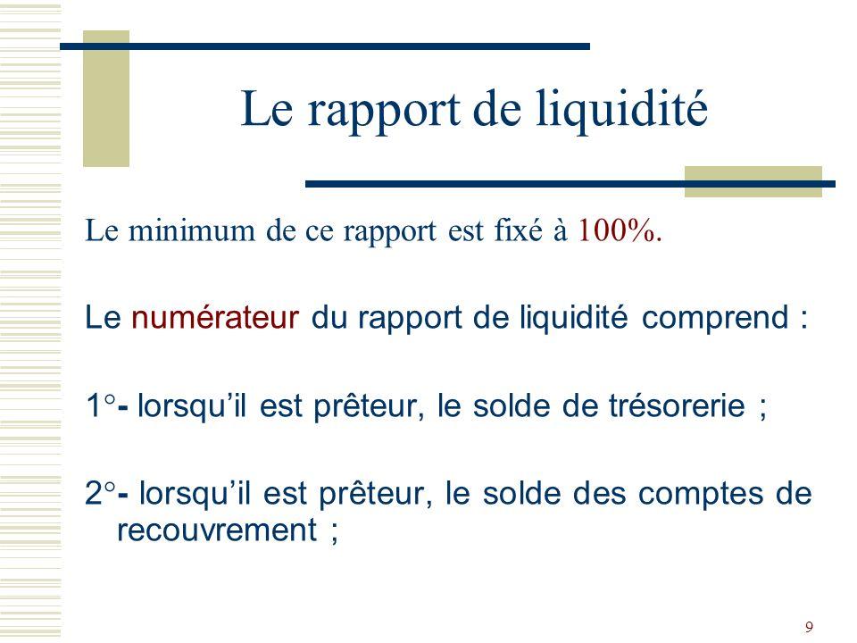 40 Le minimum de du rapport de structure du portefeuille-crédits est fixé à 55%.