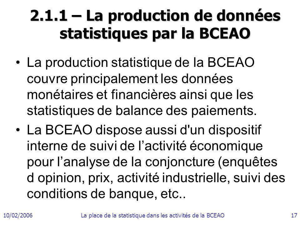 10/02/2006La place de la statistique dans les activités de la BCEAO17 2.1.1 – La production de données statistiques par la BCEAO La production statist