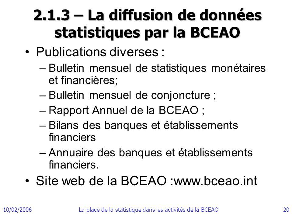 10/02/2006La place de la statistique dans les activités de la BCEAO20 2.1.3 – La diffusion de données statistiques par la BCEAO Publications diverses