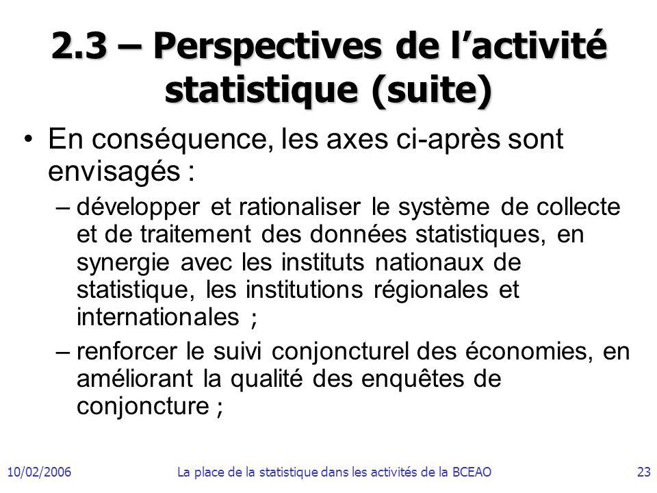 10/02/2006La place de la statistique dans les activités de la BCEAO23 2.3 – Perspectives de lactivité statistique (suite) En conséquence, les axes ci-après sont envisagés : –développer et rationaliser le système de collecte et de traitement des données statistiques, en synergie avec les instituts nationaux de statistique, les institutions régionales et internationales ; –renforcer le suivi conjoncturel des économies, en améliorant la qualité des enquêtes de conjoncture ;