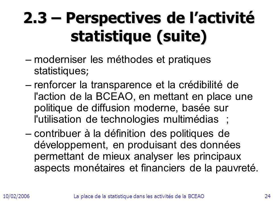 10/02/2006La place de la statistique dans les activités de la BCEAO24 2.3 – Perspectives de lactivité statistique (suite) –moderniser les méthodes et pratiques statistiques ; –renforcer la transparence et la crédibilité de l action de la BCEAO, en mettant en place une politique de diffusion moderne, basée sur l utilisation de technologies multimédias ; –contribuer à la définition des politiques de développement, en produisant des données permettant de mieux analyser les principaux aspects monétaires et financiers de la pauvreté.