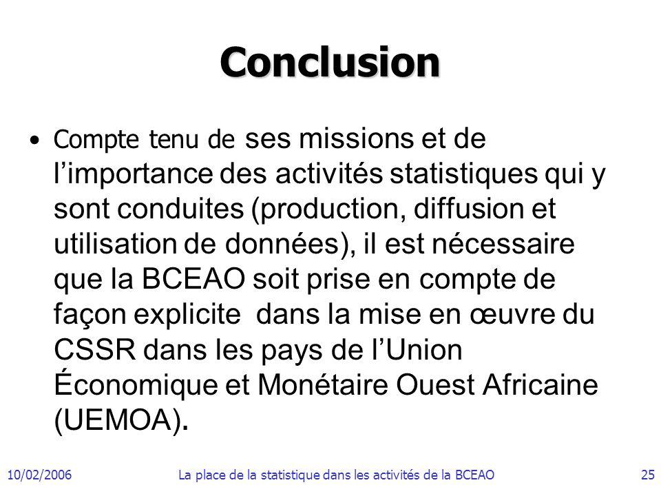 10/02/2006La place de la statistique dans les activités de la BCEAO25 Conclusion Compte tenu de ses missions et de limportance des activités statistiq