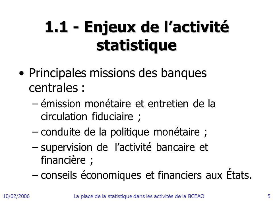 10/02/2006La place de la statistique dans les activités de la BCEAO6 1.1 - Enjeux de lactivité statistique (suite) Modification du contexte avec la mondialisation de léconomie, le développement des marchés financiers et la gestion monétaire indirecte.