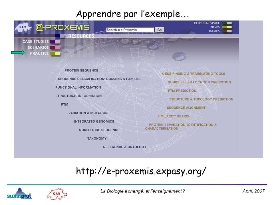 April, 2007La Biologie a changé: et lenseignement ? http://e-proxemis.expasy.org/ Apprendre par lexemple …