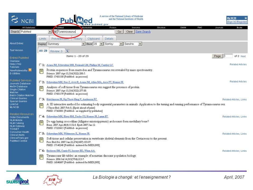 April, 2007La Biologie a changé: et lenseignement