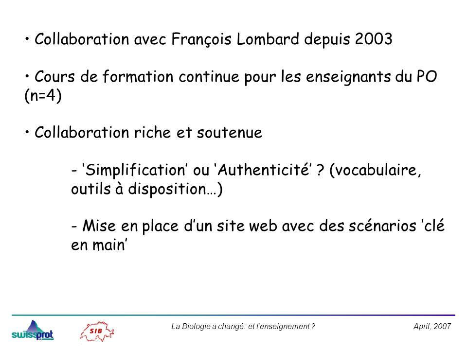April, 2007La Biologie a changé: et lenseignement ? Collaboration avec François Lombard depuis 2003 Cours de formation continue pour les enseignants d