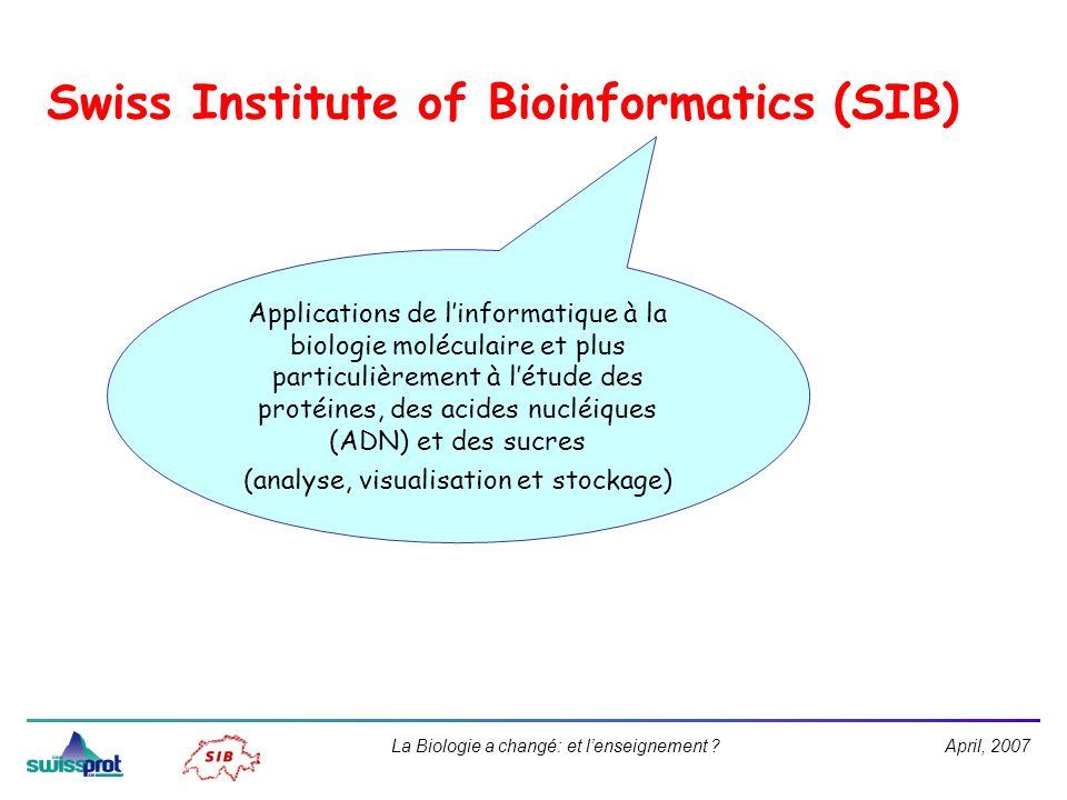 April, 2007La Biologie a changé: et lenseignement ? Swiss Institute of Bioinformatics (SIB) Applications de linformatique à la biologie moléculaire et