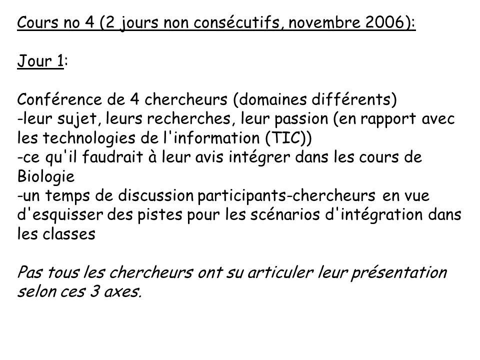 Cours no 4 (2 jours non consécutifs, novembre 2006): Jour 1: Conférence de 4 chercheurs (domaines différents) -leur sujet, leurs recherches, leur pass