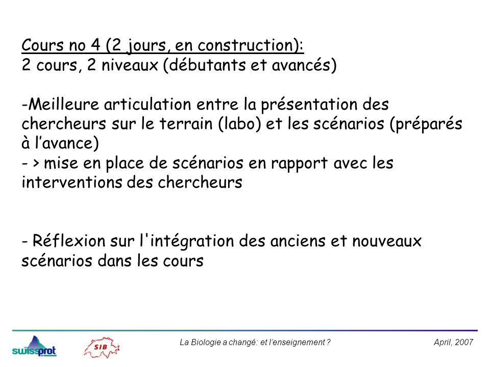 April, 2007La Biologie a changé: et lenseignement ? Cours no 4 (2 jours, en construction): 2 cours, 2 niveaux (débutants et avancés) -Meilleure articu
