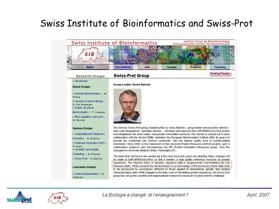 April, 2007La Biologie a changé: et lenseignement ? Swiss Institute of Bioinformatics and Swiss-Prot