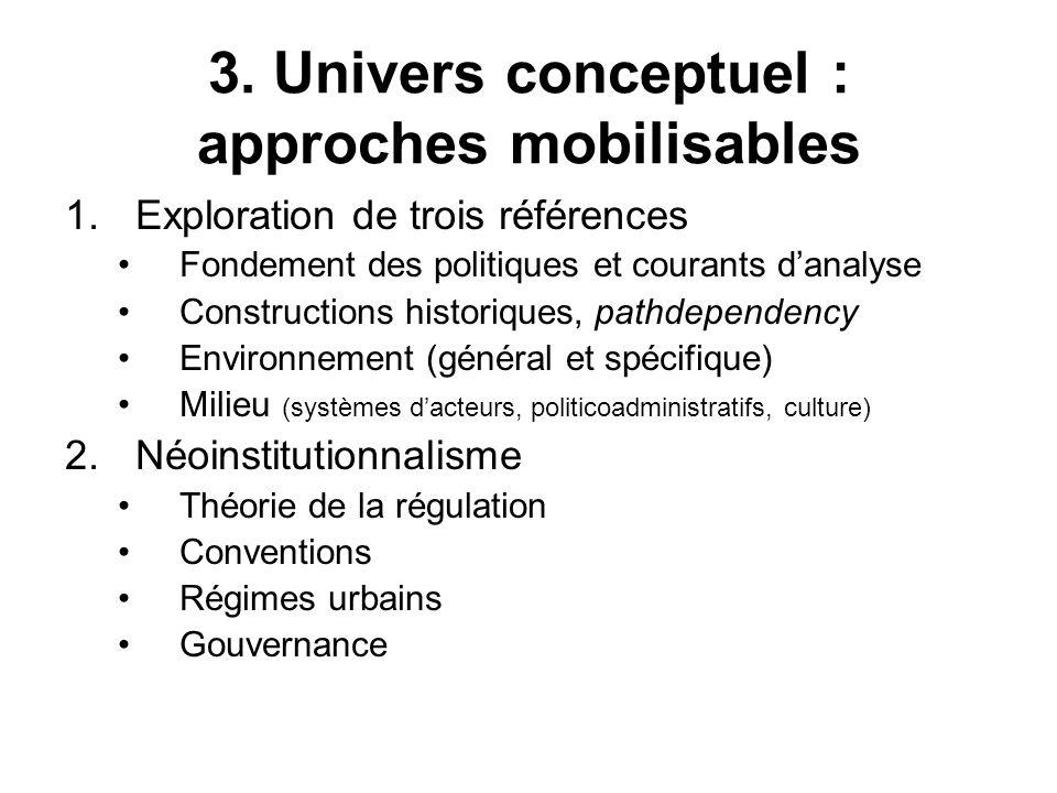 3. Univers conceptuel : approches mobilisables 1.Exploration de trois références Fondement des politiques et courants danalyse Constructions historiqu