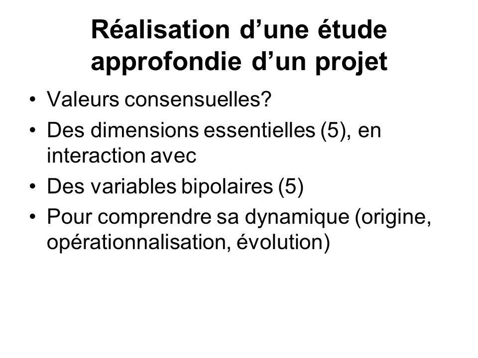 Réalisation dune étude approfondie dun projet Valeurs consensuelles? Des dimensions essentielles (5), en interaction avec Des variables bipolaires (5)