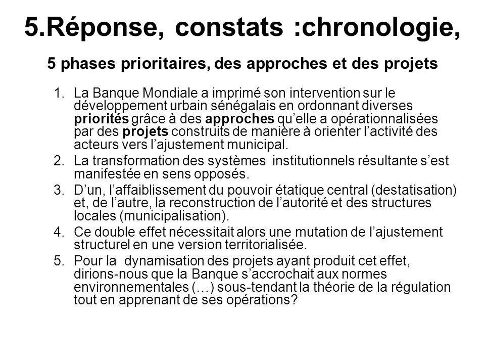 5.Réponse, constats :chronologie, 5 phases prioritaires, des approches et des projets 1.La Banque Mondiale a imprimé son intervention sur le développe