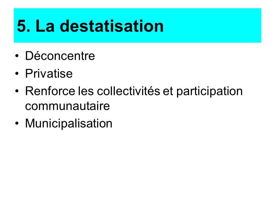 Déconcentre Privatise Renforce les collectivités et participation communautaire Municipalisation 5. La destatisation