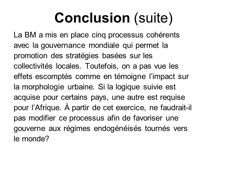 Conclusion (suite) La BM a mis en place cinq processus cohérents avec la gouvernance mondiale qui permet la promotion des stratégies basées sur les co