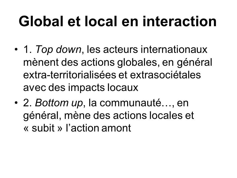 Global et local en interaction 1. Top down, les acteurs internationaux mènent des actions globales, en général extra-territorialisées et extrasociétal