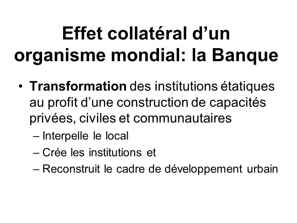 Effet collatéral dun organisme mondial: la Banque Transformation des institutions étatiques au profit dune construction de capacités privées, civiles