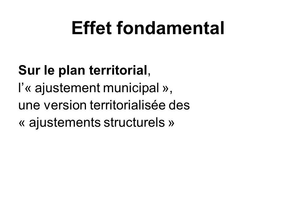Effet fondamental Sur le plan territorial, l« ajustement municipal », une version territorialisée des « ajustements structurels »
