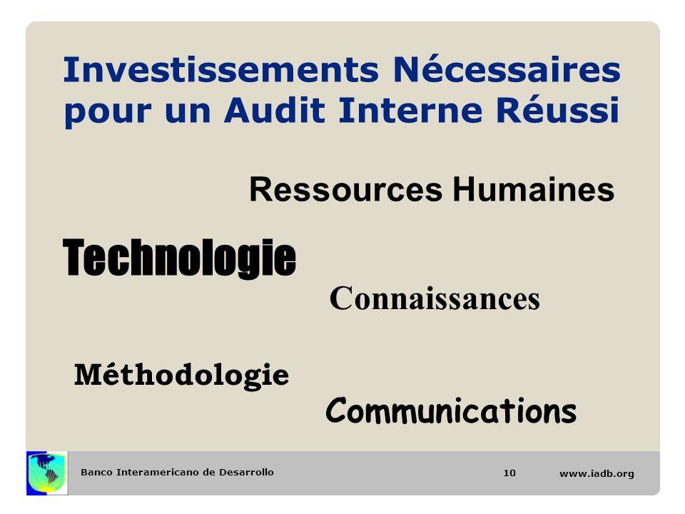 Banco Interamericano de Desarrollo www.iadb.org Investissements Nécessaires pour un Audit Interne Réussi Ressources Humaines Technologie Connaissances Méthodologie Communications 10